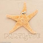 Kaartje voor een partijtje op het strand met zeester met ogen