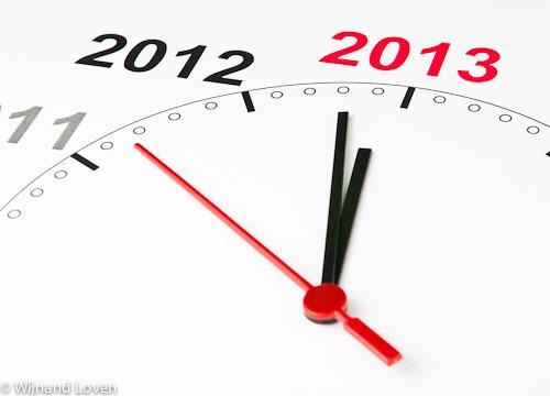 Foto van klok met 2013 op de wijzerplaat