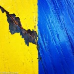 Blauw geel houten paaltje in de Amsterdamse Waterleidingduinen