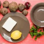 Rauwe bietensalade met peer, feta en munt - de ingredienten