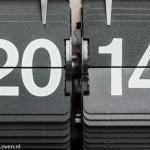 Het jaartal 2014 op retroklok