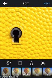 Instagramm app met filters gele brievenbus