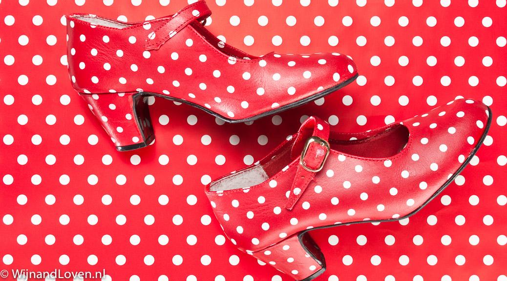 conceptfoto op polkadot patroon op flamengoschoenen