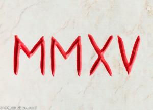 MMXV_2015_in romeinse_cijfers in steen uitgehakt