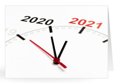 Nieuwjaarskaartje met klok met 2021